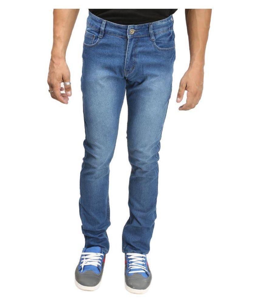 Back Side Blue Slim Fit Faded Jeans