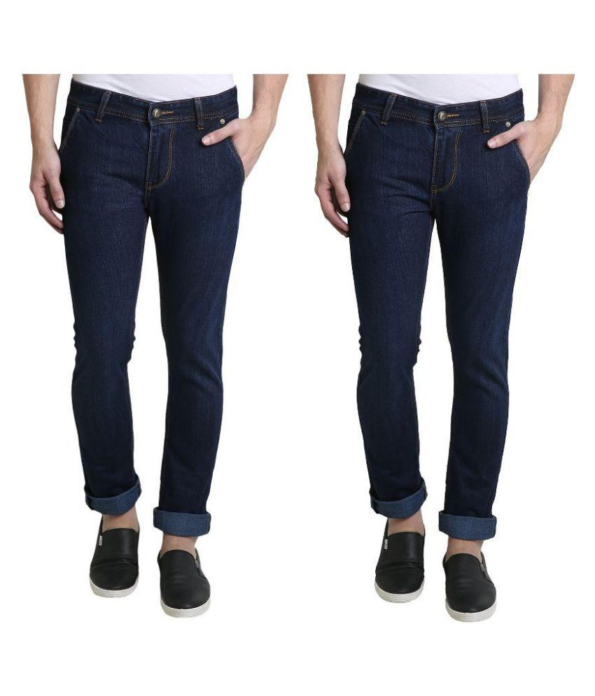 Denim Cafe Blue Slim Fit Solid Jeans
