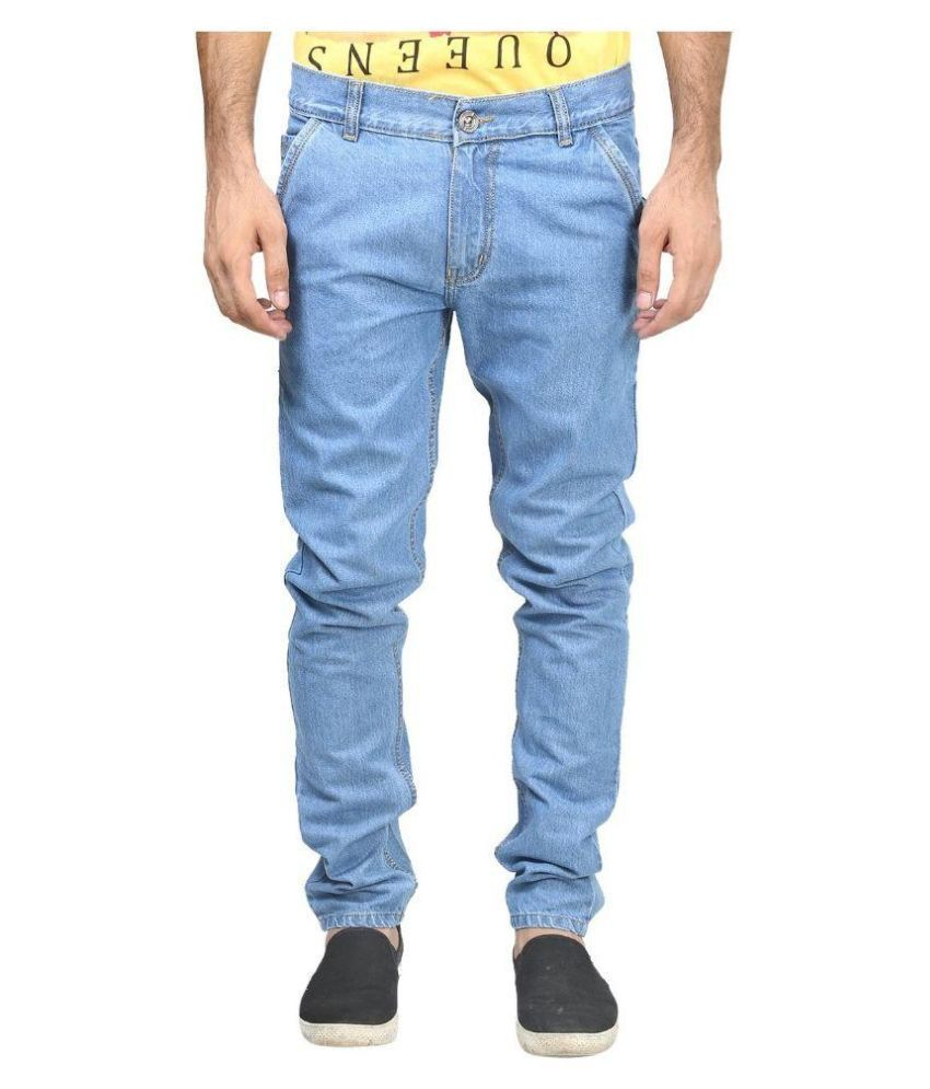 Dtusk Blue Regular Fit Solid Jeans