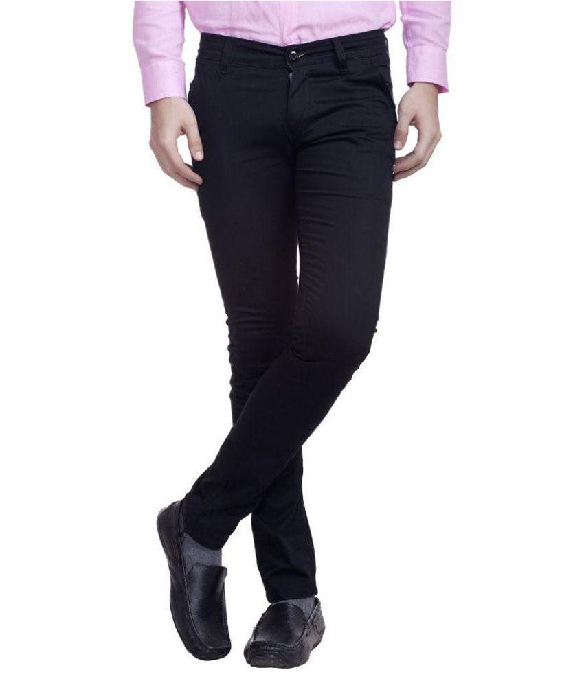 Nimegh Black Slim Fit Flat Trousers
