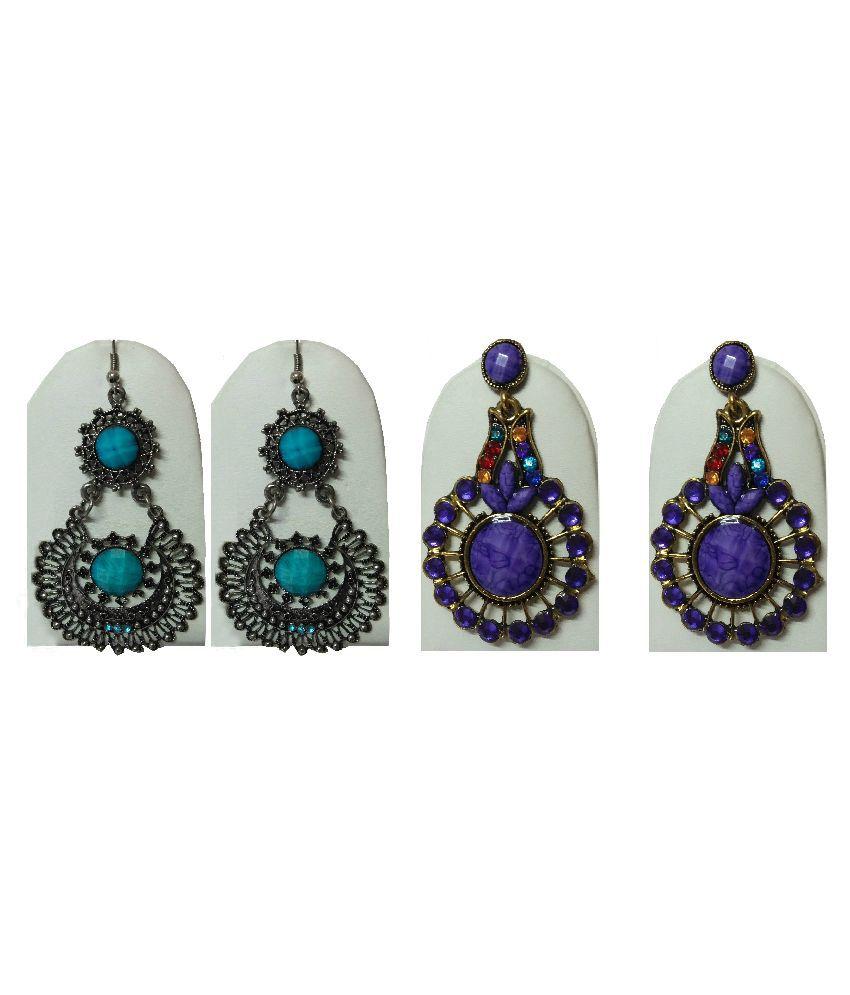 Springs Alloy 24 kt Gold Plating Stones Studded Multi Coloured Earrings Combo