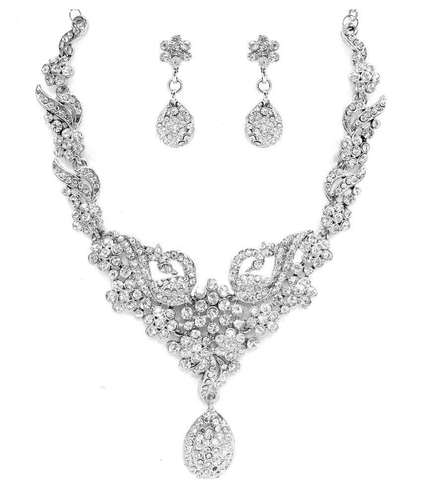 Zaveri Pearls Indian Peacock Designer Silver Look Necklace Set - ZPFK2877