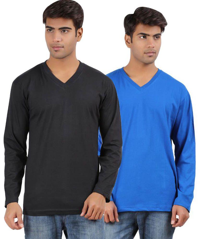 Arowana Multi V-Neck T Shirt Pack of 2
