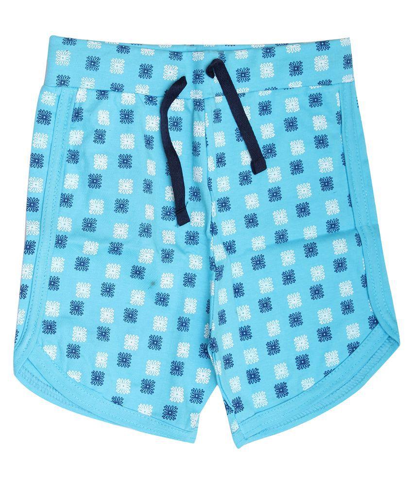 Babeezworld Cotton Blue Shorts For Girls