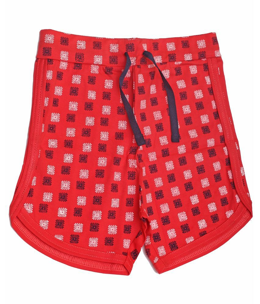 Babeezworld Cotton Red Shorts For Girls