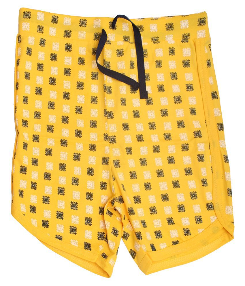 Babeezworld Cotton Yellow Shorts For Girls
