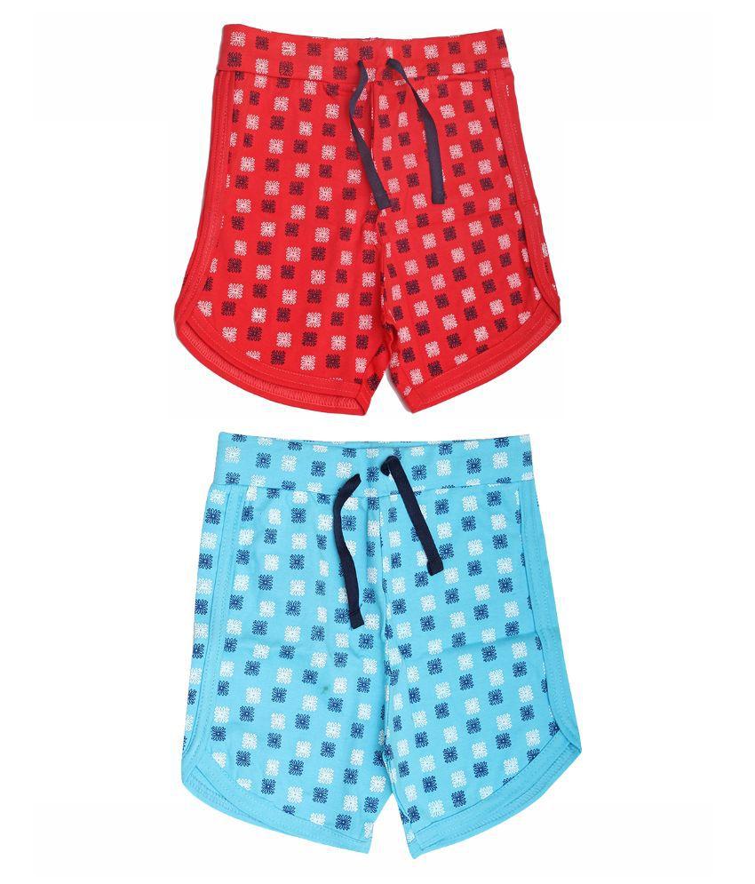 Babeezworld Multicolour Cotton Shorts for Girls - Set of 2