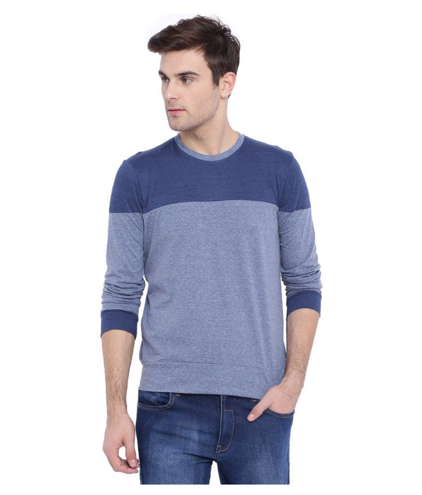 Campus Sutra Blue Round T Shirt