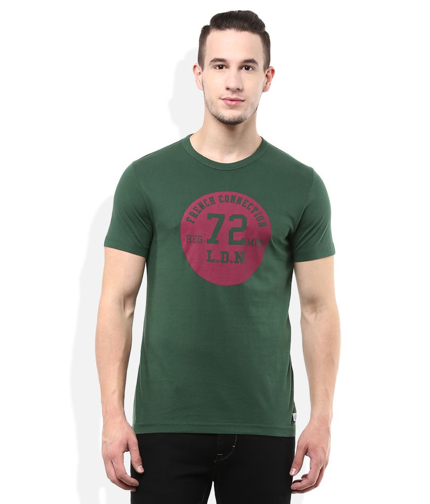 FCUK Green Round Neck Half Sleeves Printed T-Shirt