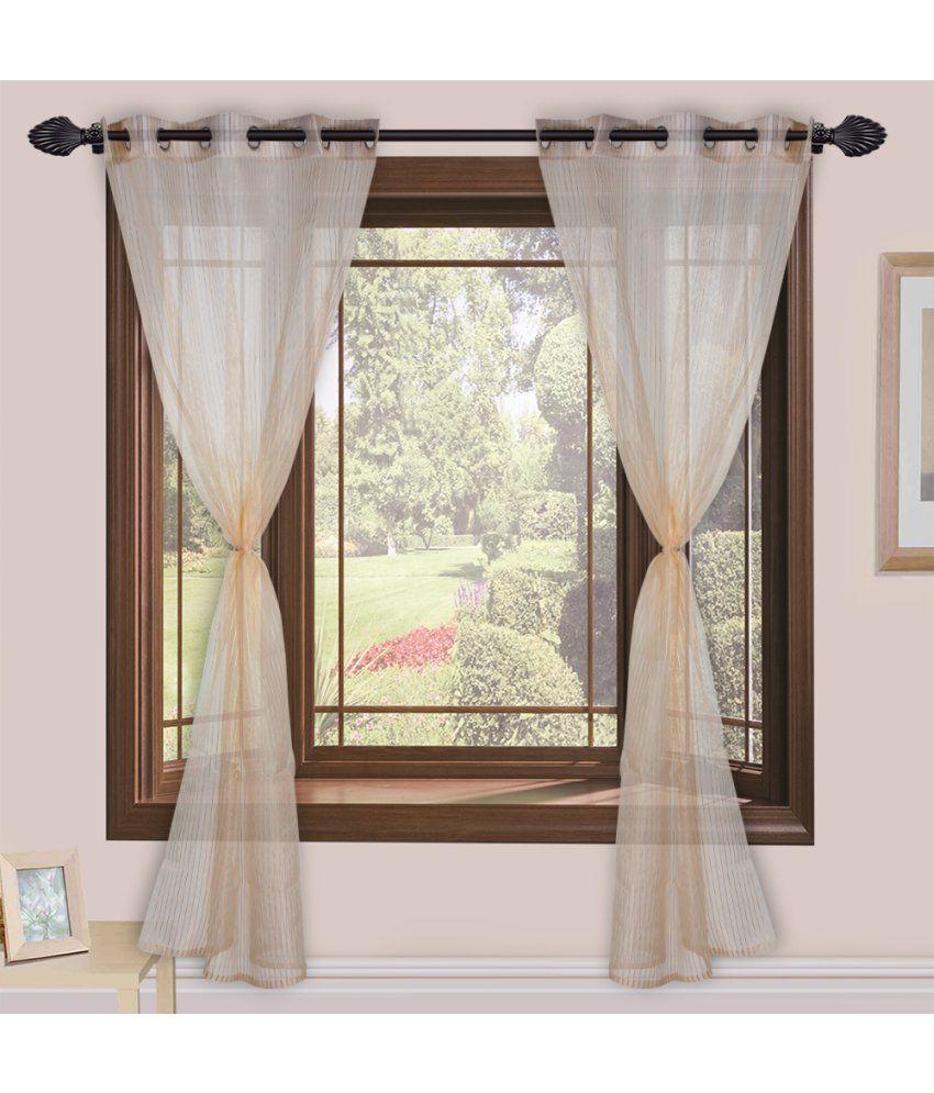 Homefab India Set of 2 Door Eyelet Curtains Stripes Beige