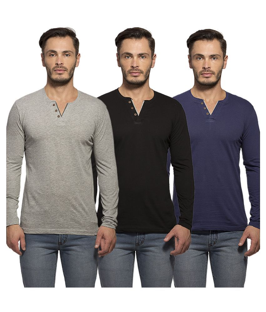 Maniac Multi Henley T Shirt Pack of 3