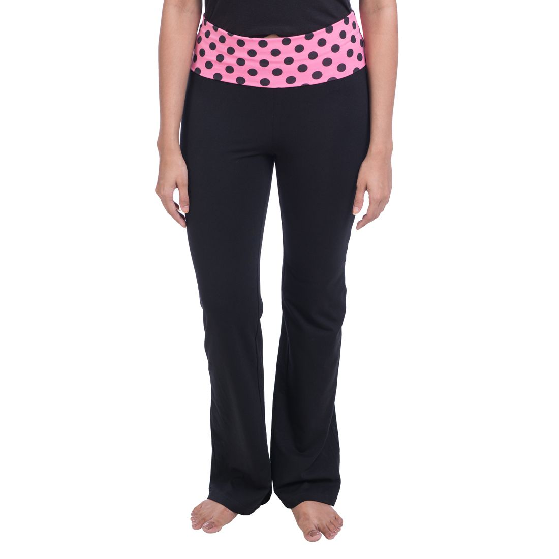 Nite Flitet Black Cotton Lycra Yoga Pants