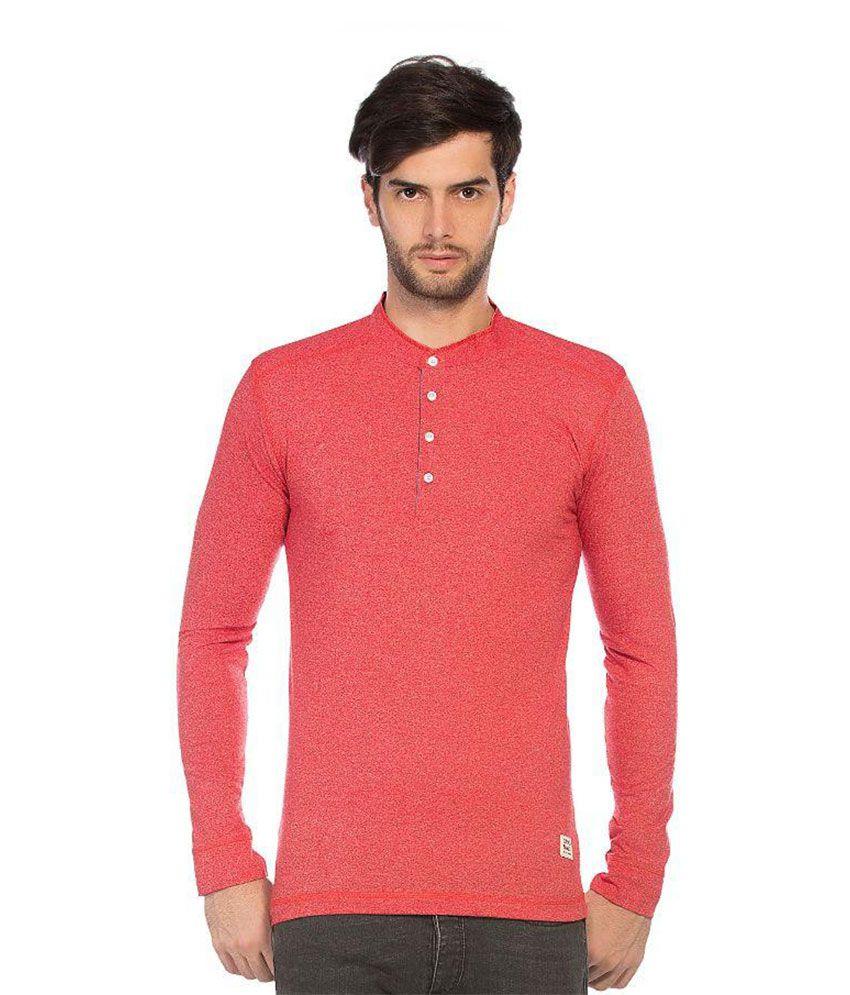 Alan Jones Clothing Red Henley T Shirt