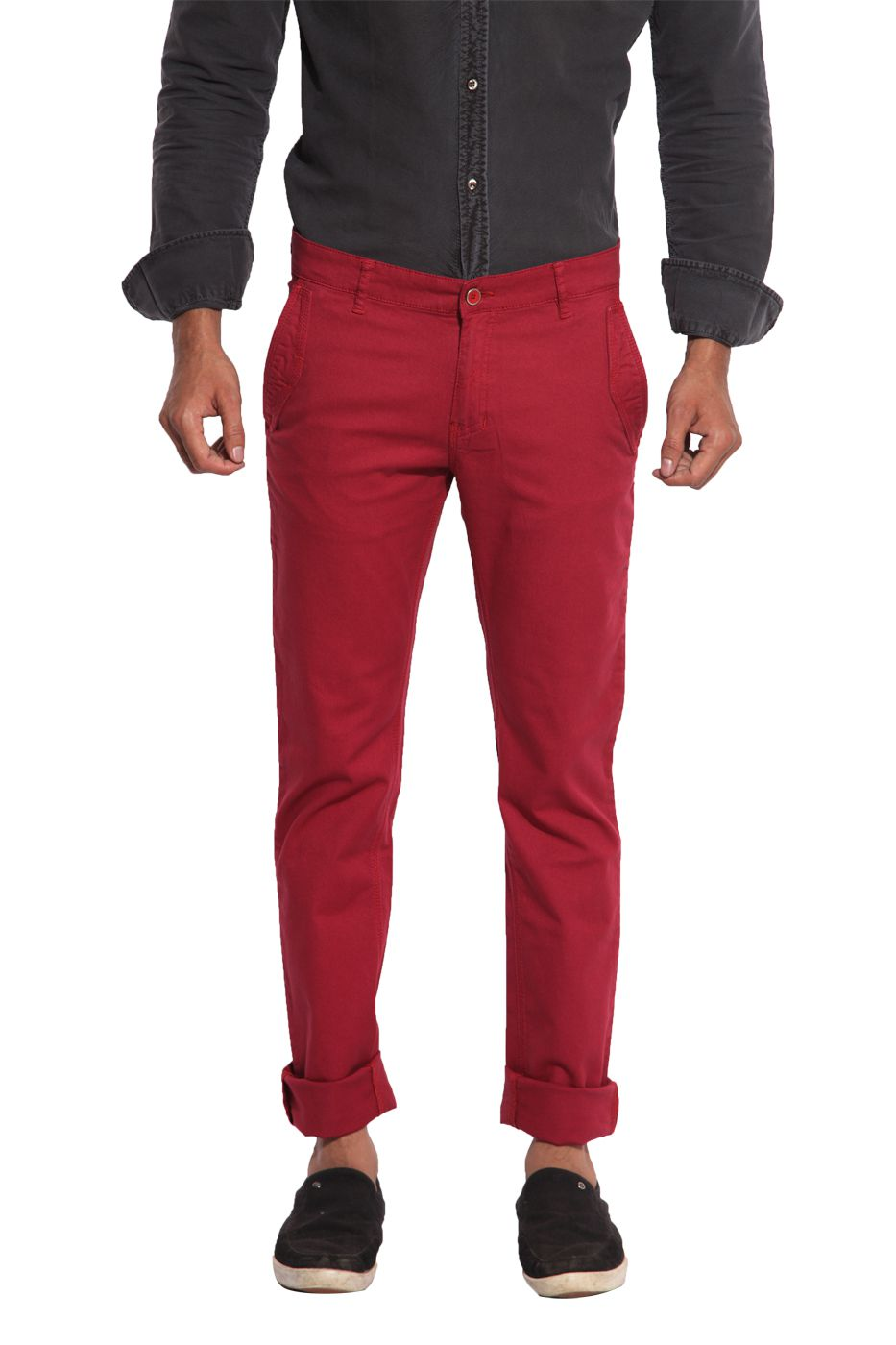Inego Maroon Slim Fit Chinos TROUSERS