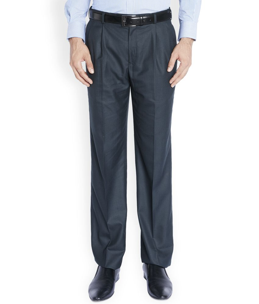 Raymond Blue Regular Fit Flat Trousers