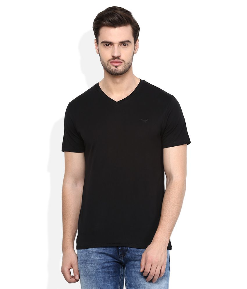Threadbare Black V-Neck Half SleevesSolids T-Shirt