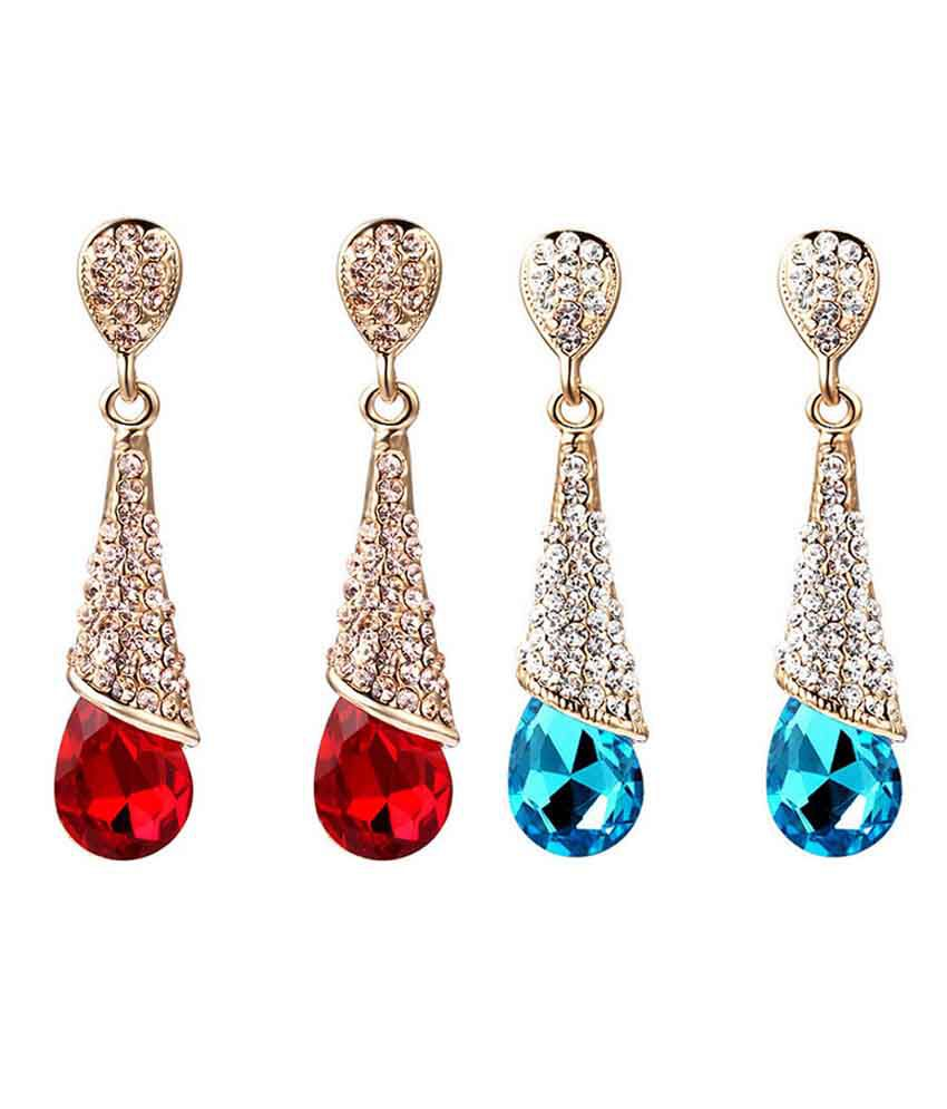 Aaishwarya Alloy Crystal Studded Golden Coloured Earrings