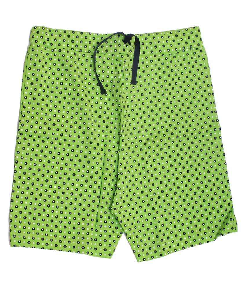 Babeezworld Green Cotton Girls Shorts