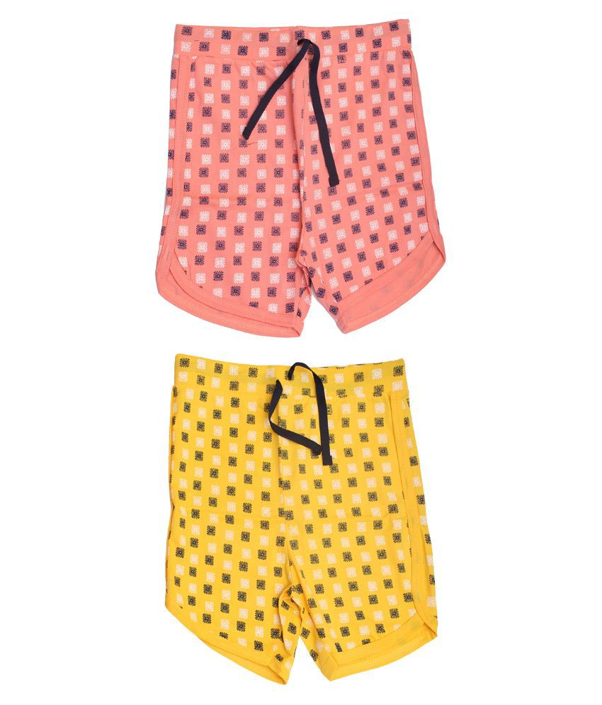 Babeezworld Multicolor Cotton Shorts - Pack of 2