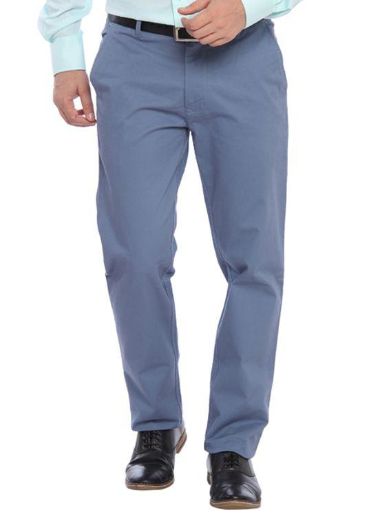 ColorPlus Grey Regular Fit Flat Trousers