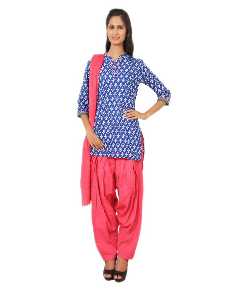 Rama Blue Cotton Straight Fit Stitched Salwar Suit