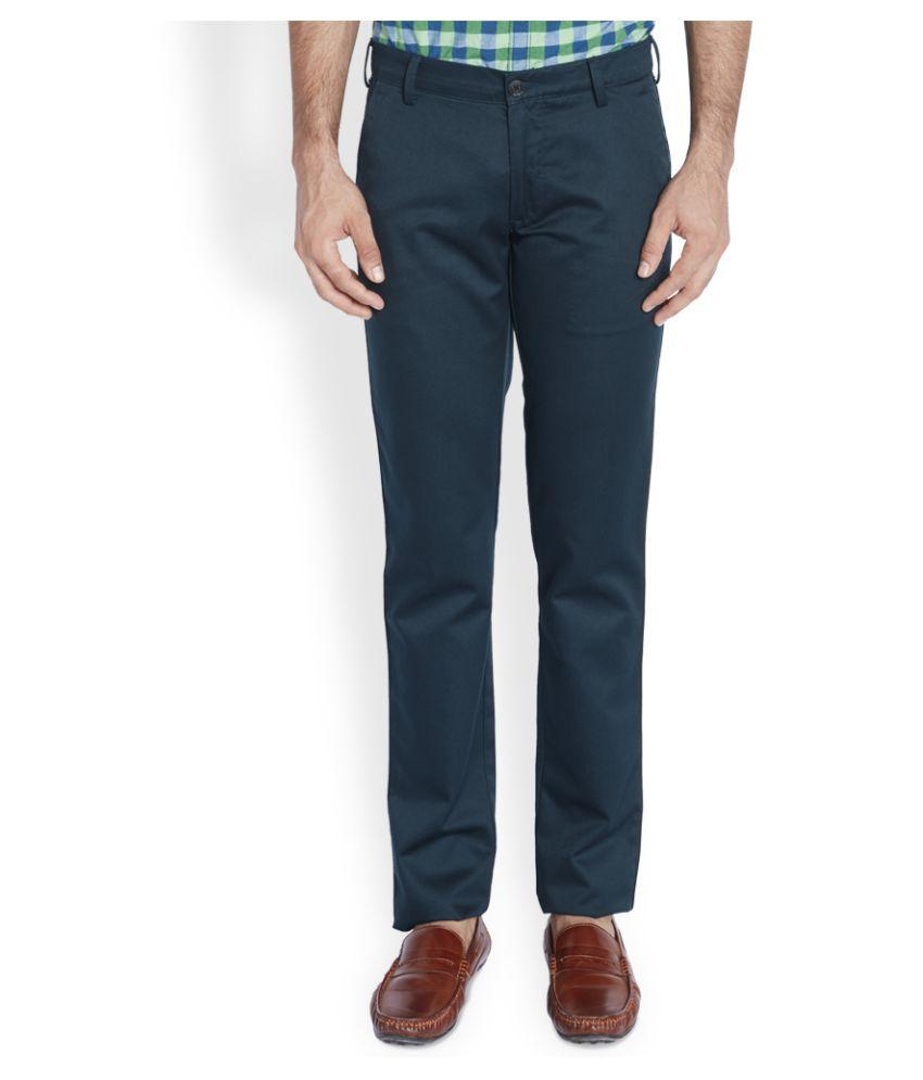 Colorplus Blue Slim Fit Flat Trousers