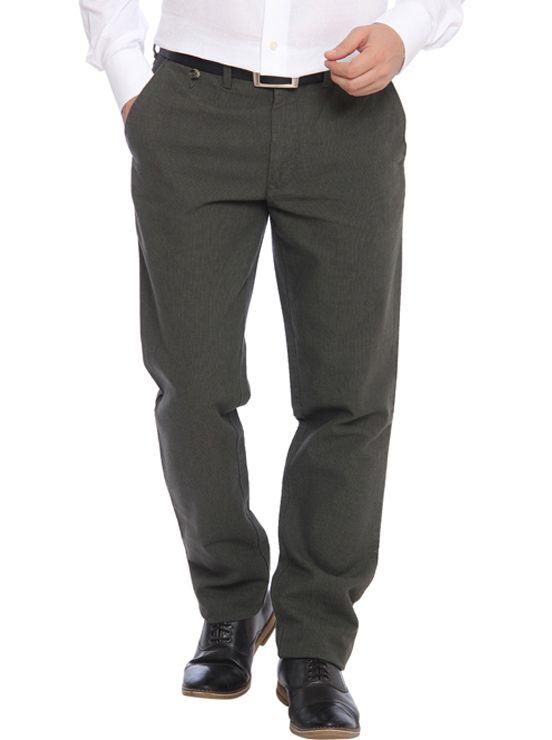 Colorplus Green Regular Fit Flat Trousers