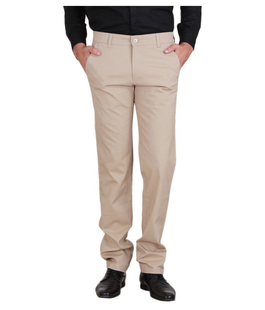 Mark-8 Beige Regular Fit Flat Trousers