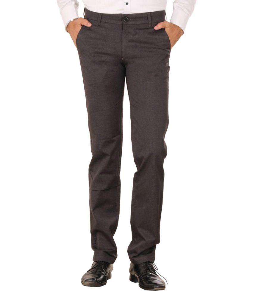 Mark-8 Brown Slim Fit Flat Trousers
