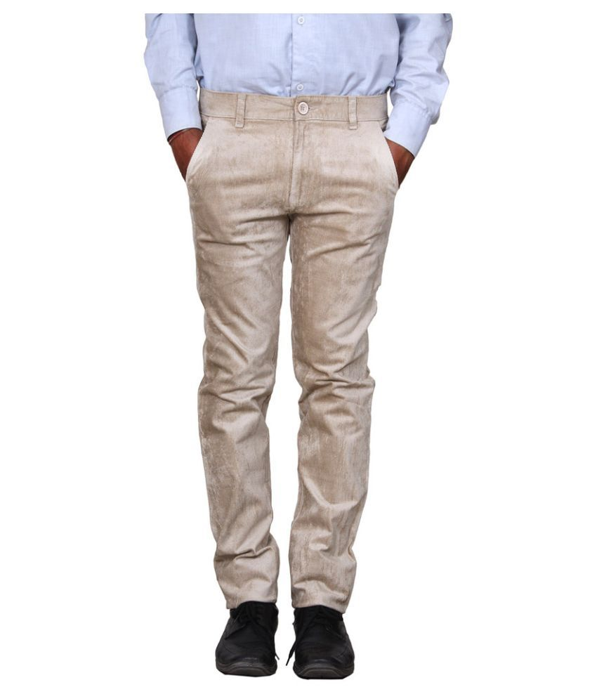 Metalica Beige Regular Fit Flat Trousers
