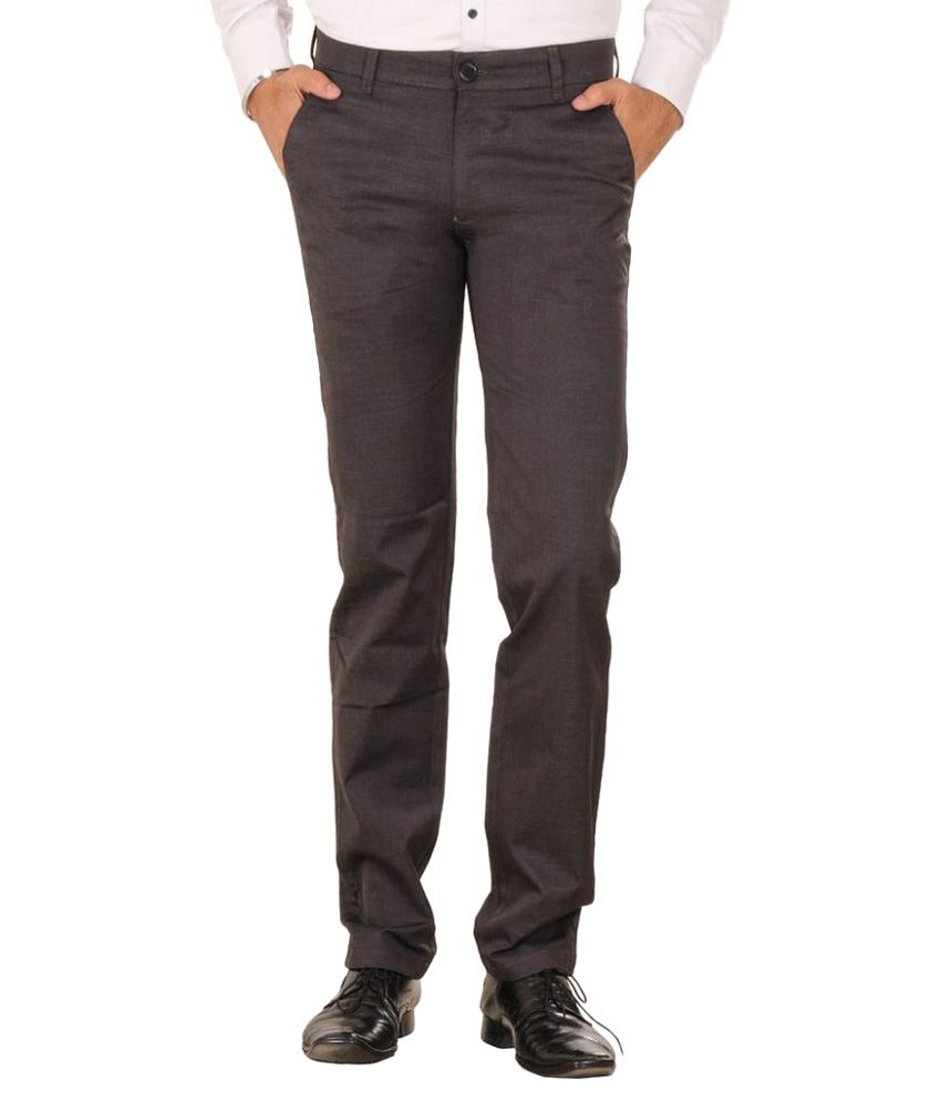 Metalica Grey Regular Fit Flat Trousers