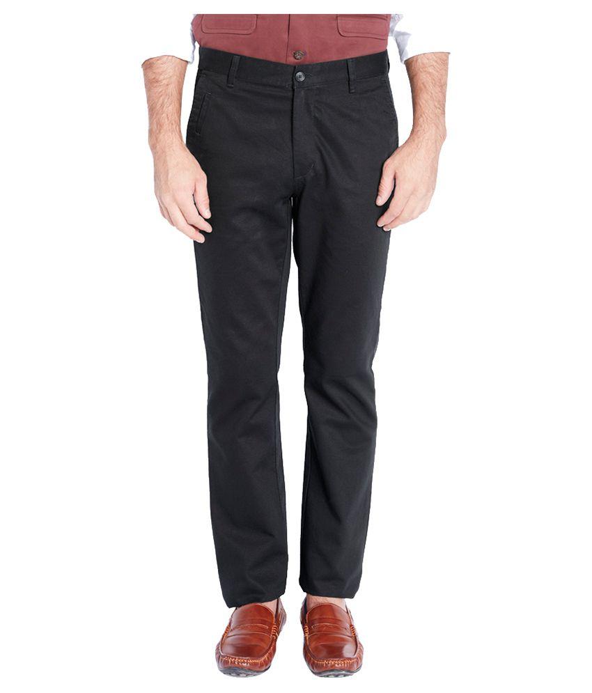 Parx Black Slim Fit Flat Trousers