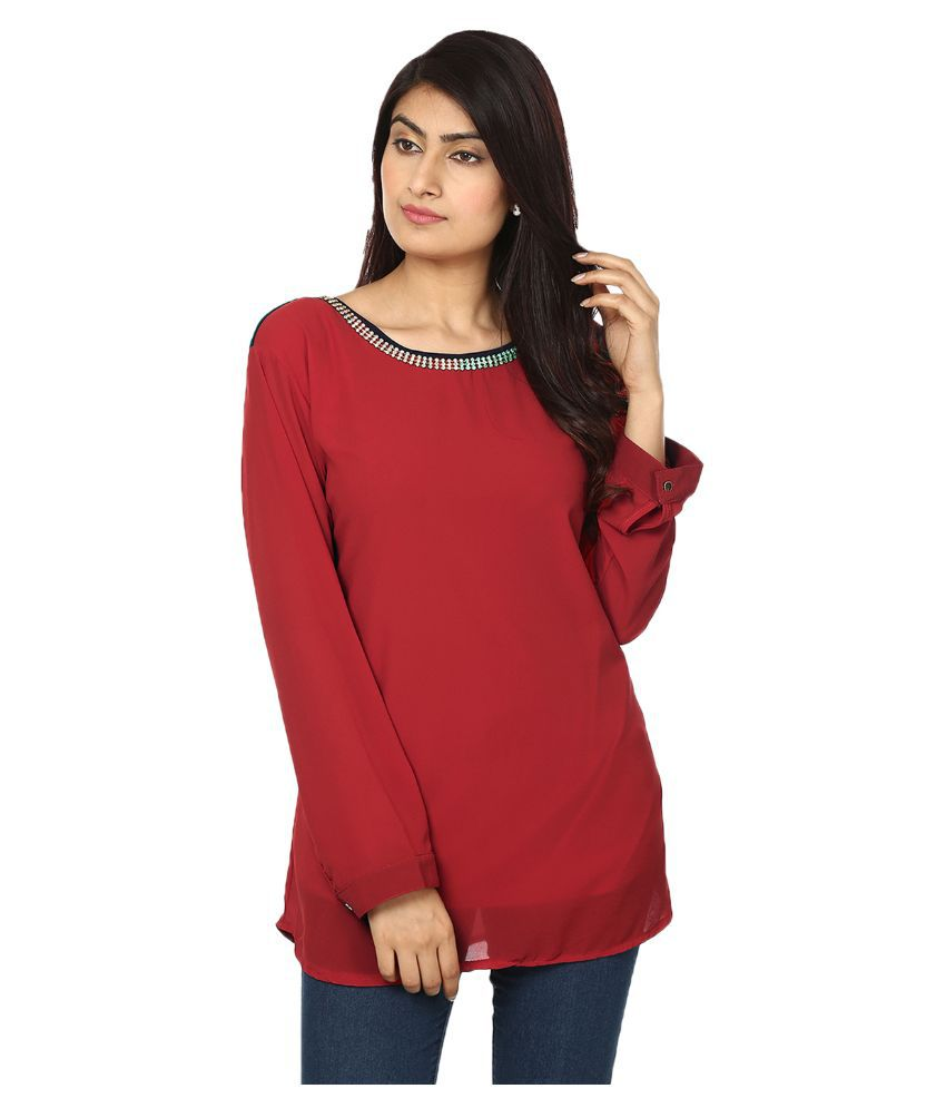 Passion Red Georgette Tunics