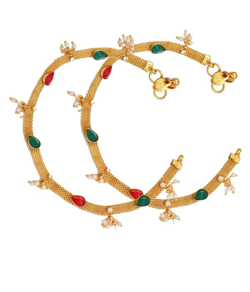 Ratnakar Alloy Gold Plating Studded Gold Coloured Pair Of Anklets