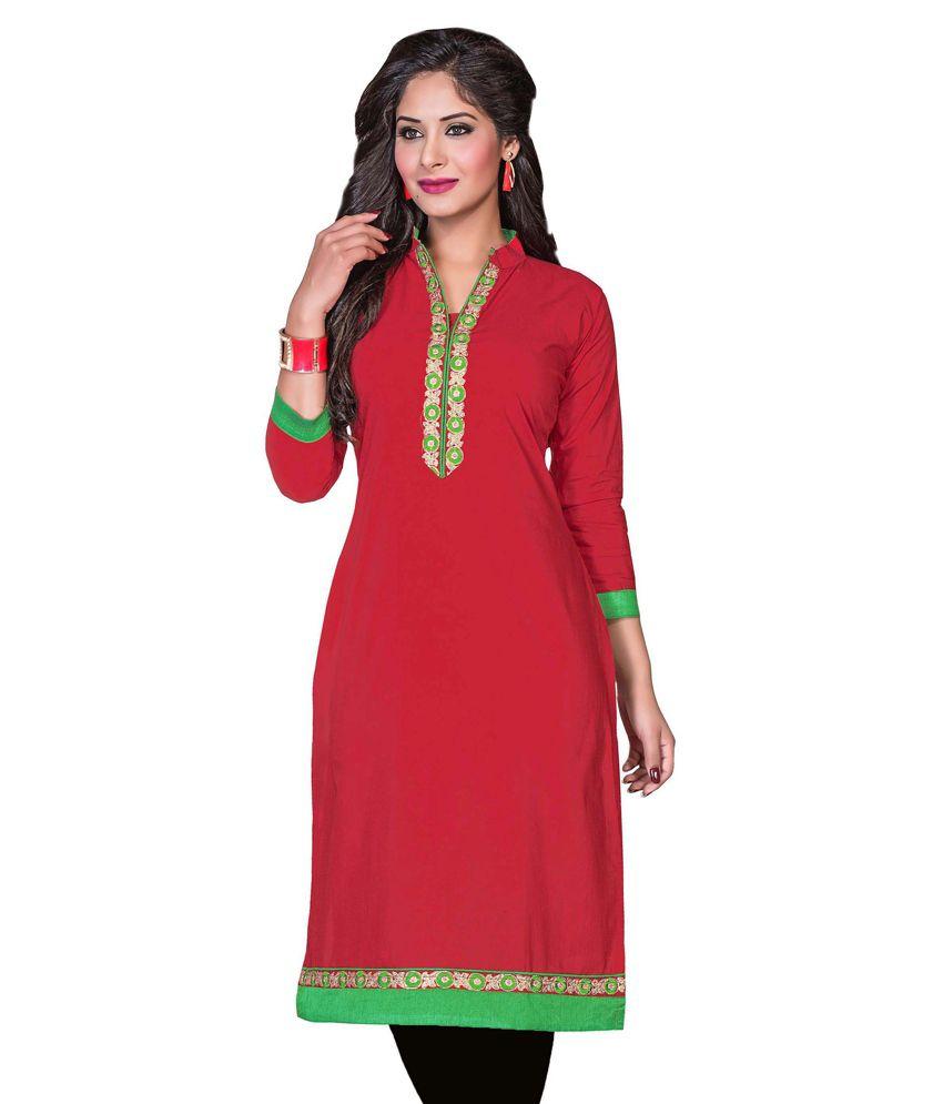 Silkone Red Cotton Straight Kurti