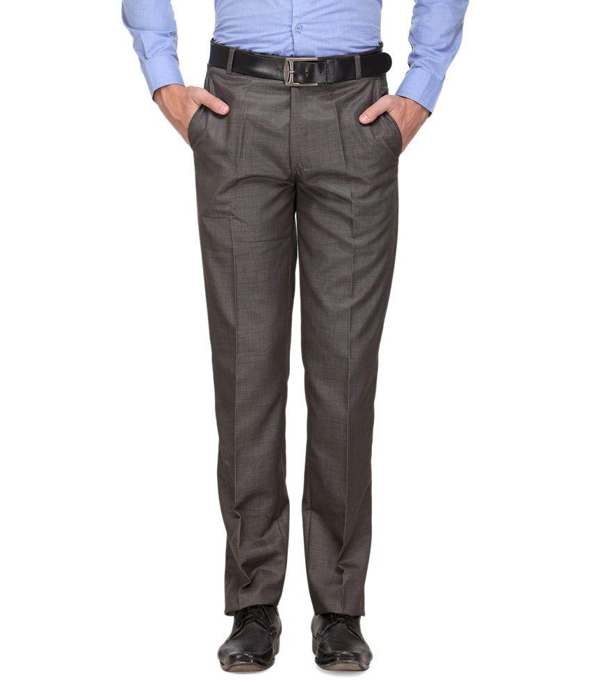 Ausy Grey Slim Fit Flat Trousers