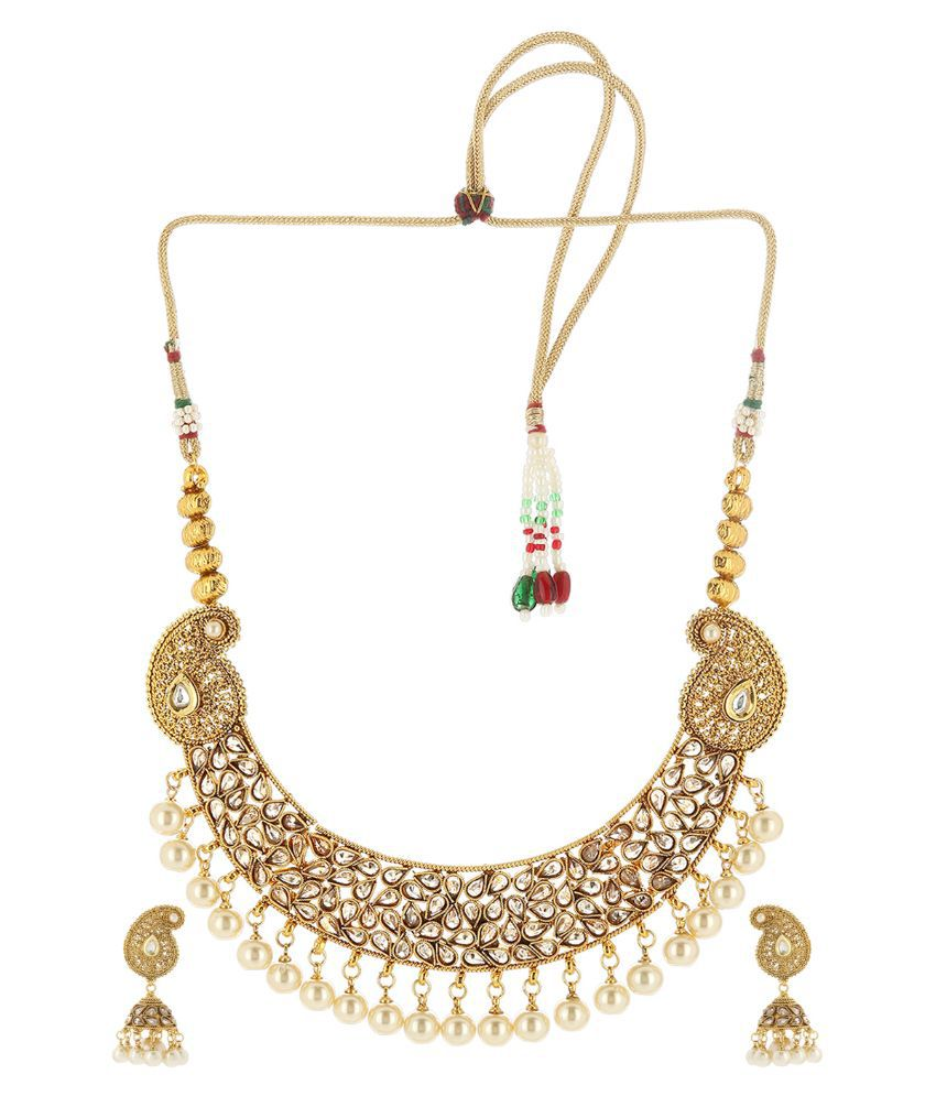 Prita Alloy kundan/Meenakari Studded Gold Coloured Necklaces Set