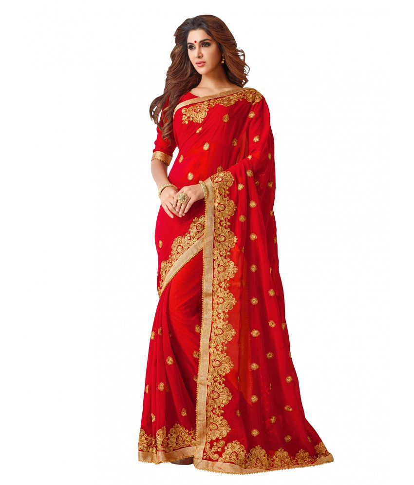 264a90cdf7 Pahal Fashion Red Georgette Saree - Buy Pahal Fashion Red Georgette Saree  Online at Low Price - Snapdeal.com
