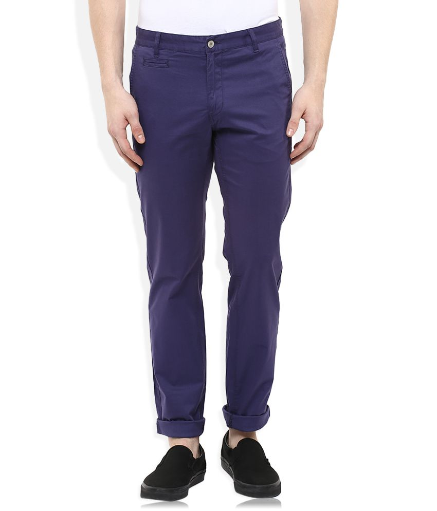 Indian Terrain Blue Slim Fit Chinos
