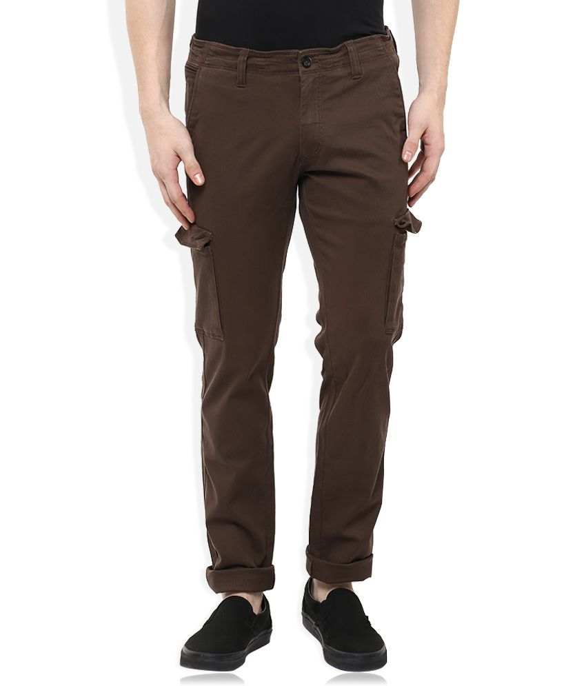 Indian Terrain Brown Slim Fit Cargos
