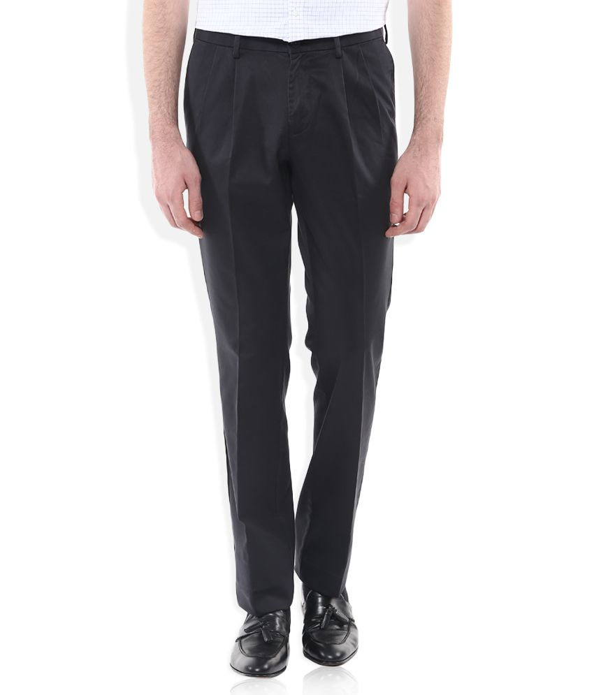 Indian Terrain Grey Regular Fit Pleated Trousers