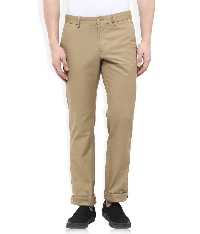 Indian Terrain Khaki Slim Fit Flat Trousers