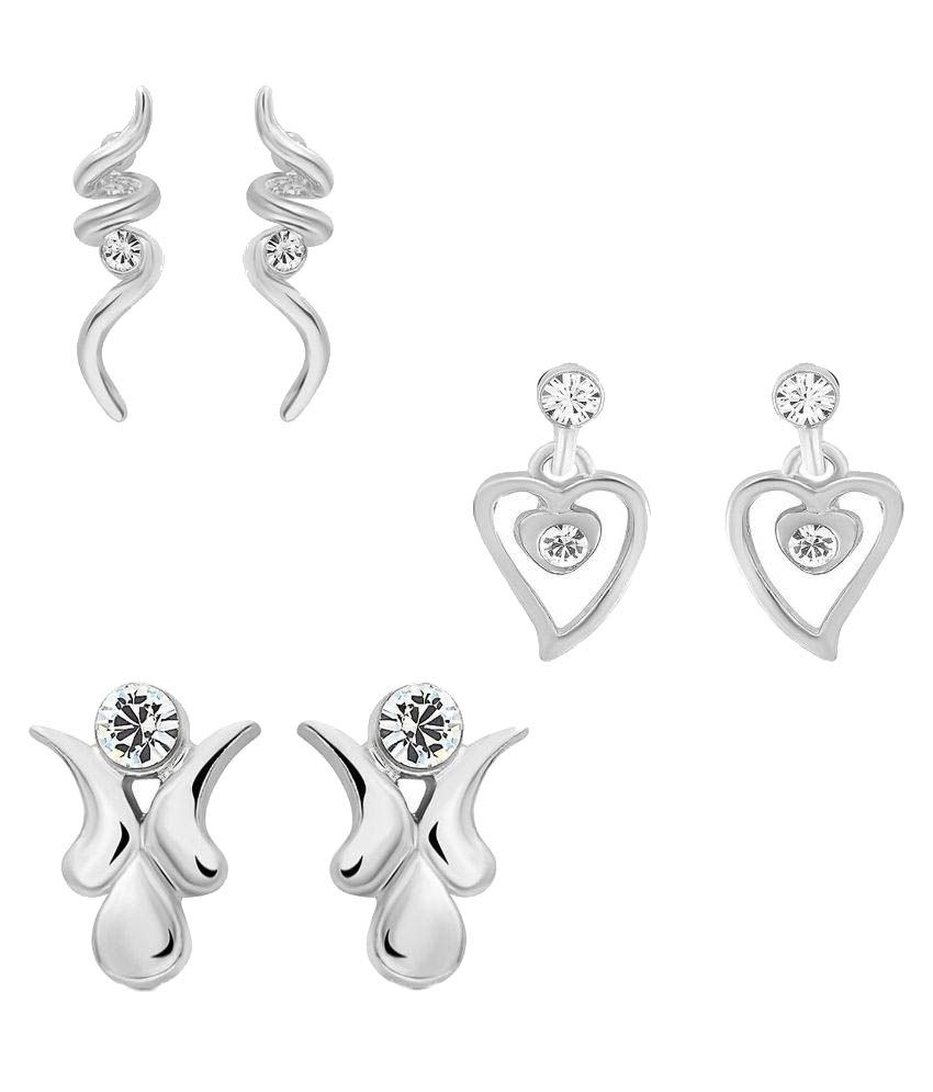Mahi Eita Collection Combo of Fashion Stud Earrings - Pair of 3
