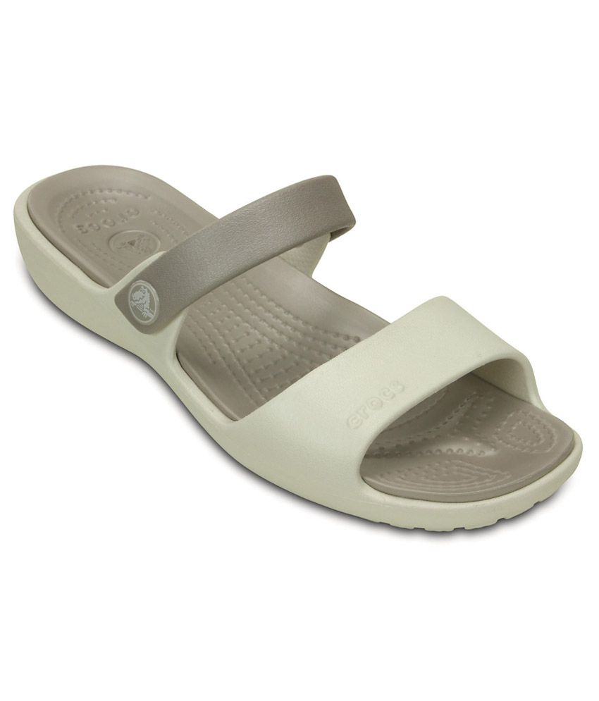 Crocs Gray Slippers & Flip Flops Relaxed Fit