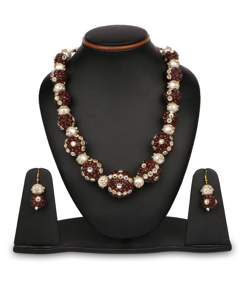 Johareez Brass Gold Plating Stones Studded Multi Coloured Necklaces Set