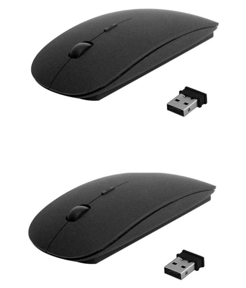 Allen A-909 Wireless Mouse (Pack Of 2) Ultra Sleek Slim 2.4Ghz With Nano Receiver (Black)
