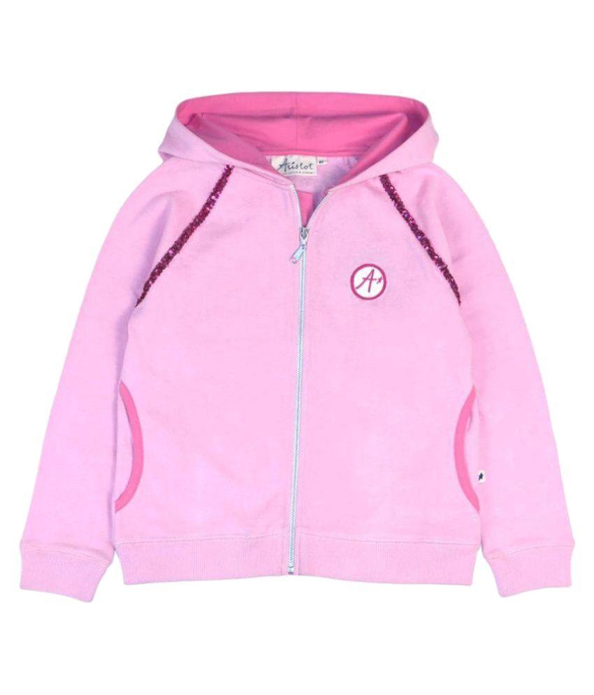 Aristot Pink Cotton Hoodie Sweatshirt for kids girls