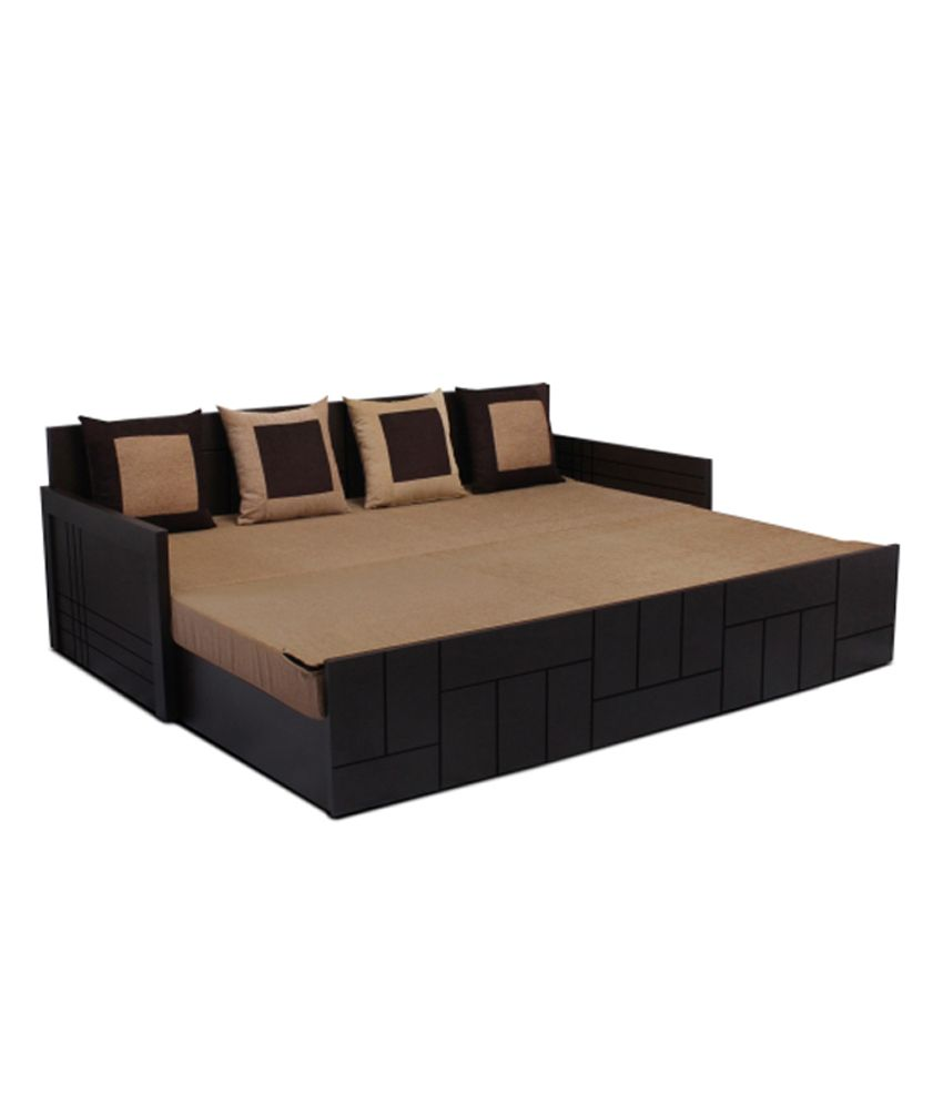 auspicious nelson brown sofa cum bed with four cushions - buy