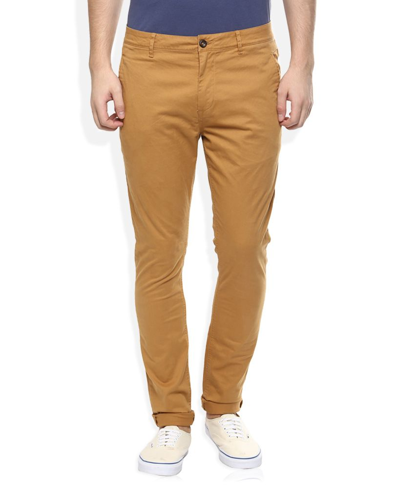 Breakbounce Gold Slim Fit Casuals Chinos