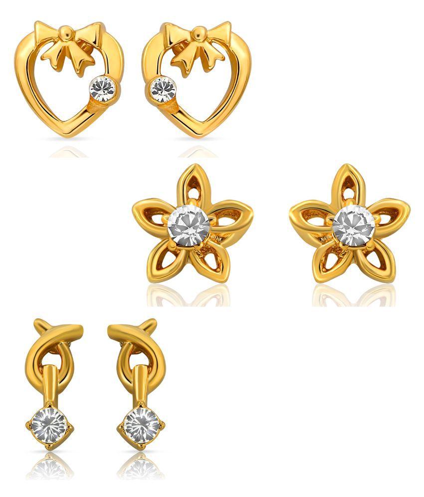 Mahi Alloy Gold Plated Studded Golden Earrings Combo - Set of 3
